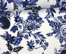 Stoff - Blumen - Florale Ornamente - Sweet Flowers - Dunkelblau/Weiß