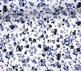 Stoff - Blümchen - Schleifen - Sweet Flowers - Blau/Weiß