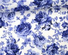 Blauer Stoff Mit Blumen