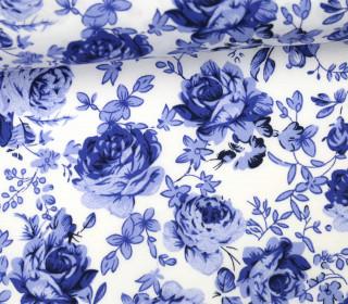 Stoff - Rosen - Blätter - Sweet Flowers - Blau/Weiß