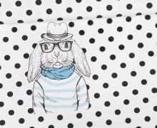 Jersey - Bio Qualität - Paneel - Enno Schlappohr - Hase - Punkte - weiß - abby and me