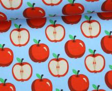Stoff - An Apple a Day - Äpfel - Apples - Hellblau