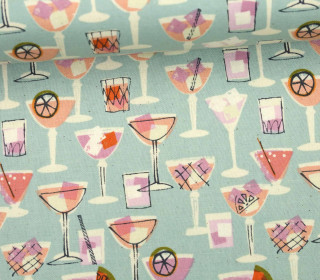 Stoff - Coctails - Poolside - Melody Miller - Blaugrau