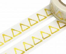 1 Rolle Masking Tape - Dreiecke - Weiß/Gold