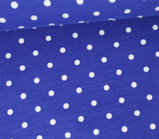 Jersey - Punkte - Dots - 5mm - Color Love - Royalblau/Weiß