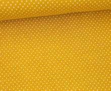 Jersey - Pünktchen - Punkte - Dots - 1mm - Color Love - Senfgelb/Weiß