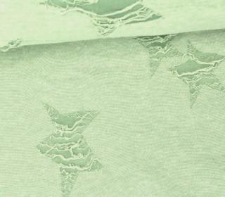Fashion Jersey -Sterne - Used-Look - Fransen - Destroyed - Lindgrün