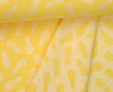 Leichter Jacquard - Doubleface - Ananas - Pineapples - Gelb/Weiß