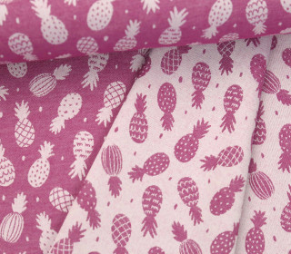 Leichter Jacquard - Doubleface - Ananas - Pineapples - Beere/Weiß