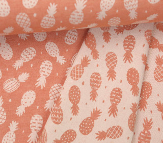 Leichter Jacquard - Doubleface - Ananas - Pineapples - Rotorange/Weiß