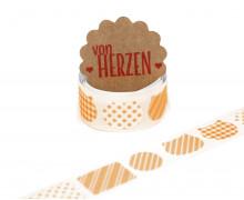 32 Stoffaufkleber - Stoffklebeband zum Aufbügeln - Katzen - Fabric Label - Orange