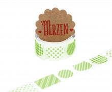 32 Stoffaufkleber - Stoffklebeband zum Aufbügeln - Katzen - Fabric Label - Grün
