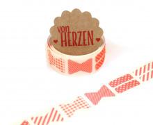 32 Stoffaufkleber - Stoffklebeband zum Aufbügeln - Schleifen - Fabric Label - Rot