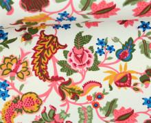 Leichter Kuschelsweat - Blumen - Springtime - Cremeweiß/Senfgelb/Pink