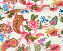 Leichter Kuschelsweat - Blumen - Springtime - Cremeweiß/Gelbgrün/Pink