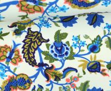Leichter Kuschelsweat - Blumen - Springtime - Cremeweiß/Gelbgrün/Blau