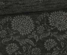 Fester Jacquard - Rapport - florale Ornamente - Flowers - Schwarz