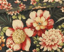 Jacquard Stoff - große Blüten - Dunkelgrau