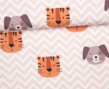 Jersey - GOTS - Süße Tierwelt - Tiger und Hund - Zickzack - Apricot - abby and me