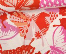 Stoff - Schmetterlinge - Abstrakt - Flutter - Melody Miller - Naturweiß