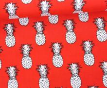 Stoff - Ananas - Pineapple - Vintage - Rot