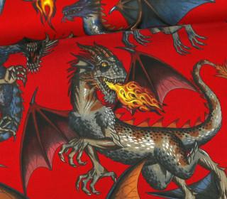 Stoff - Drachen - Alexander Henry - Tale of the Dragons - Dunkelrot