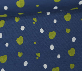 Jersey - Dots and Hearts- Little Darling - Indigoblau