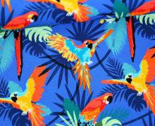 Canvas Stoff - Feste Baumwolle - Papagei - Blätter - Paradise - Royalblau