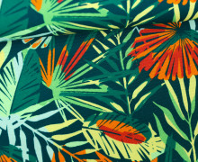 Canvas Stoff - Feste Baumwolle - Leaves - Blätter - Paradise - Petrol dunkel