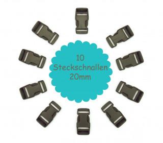 10 Steckschnallen - 20mm - Kunststoff - Taupe