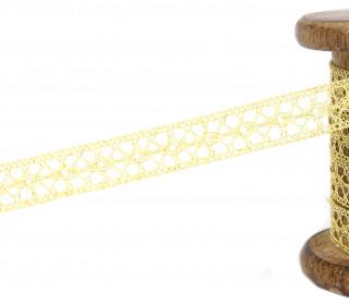 1m Klöppelspitze mit Metallfäden - Spitzenborte - 13mm - Glänzend - Gold