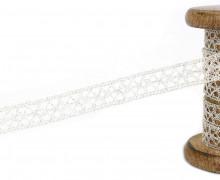 1m Klöppelspitze mit Metallfäden - Spitzenborte - 13mm - Glänzend - Silber