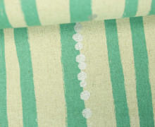 Canvas - Stripes and Dots - Echino - KOKKA - Naturfarben/Dunkelmint/Silber