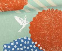 Canvas - Punkte - Streifen - Grafik - Vogel - Echino - KOKKA - Mint/Silber