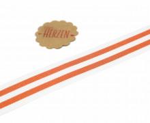 1 Meter Ripsband - Köperband - Streifen - 25mm - Orange/Weiß