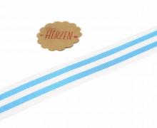 1 Meter Ripsband - Köperband - Streifen - 25mm - Hellblau/Weiß