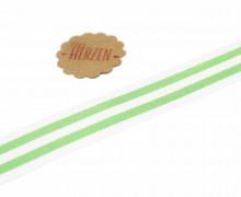 1 Meter Ripsband - Köperband - Streifen - 25mm - Hellgrün/Weiß