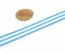 1 Meter Ripsband - Köperband - Streifen - 35mm - Hellblau/Weiß