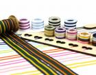 1 Meter Ripsband - Köperband - Streifen - 25mm - Breit - Dunkelgrün/Gelb