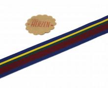 1 Meter Ripsband - Köperband - Streifen - 25mm - Breit - Bordeaux/Blau