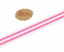 1 Meter Ripsband - Köperband - Streifen - 15mm - Pink/Weiß