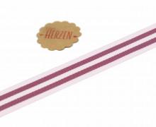 1 Meter Ripsband - Köperband - Streifen - 15mm - Rotbraun/Rose