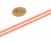 1 Meter Ripsband - Köperband - Streifen - 15mm - Orange/Weiß