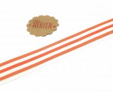 1 Meter Ripsband - Köperband - Streifen - 35mm - Orange/Weiß