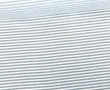 Viskose Jersey - Streifen - 1mm - Grau/Weiß