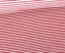 Viskose Jersey - Streifen - 1mm - Rot/Weiß