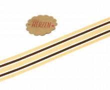 1 Meter Ripsband - Köperband - Crimsey - Streifen - 25mm - Cremebeige
