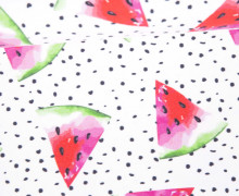 Jersey - Bio Qualität - Summer Stripes - Melon Dots - weiß - abby and me