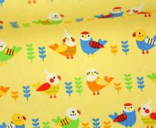 Feste Baumwolle - Vögel - Birds - Loose Animal - Tréfle - Kokka - Pastellgelb