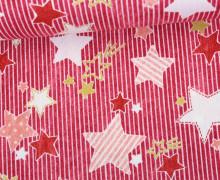 Feste Baumwolle - Glitzer - Sterne - Streifen - Tréfle - Kokka - Rot